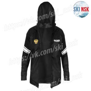 Ветрозащитная-влагозащитная куртка на флисе чёрная SKINSK