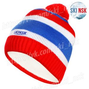 Шапка SkiNsk вязанная на флисе красная