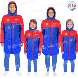 Куртка синтепоновая удлиненная SkiNsk сине-красная тёплая